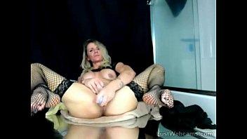 Blonde MILF toys herself on webcam