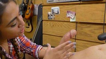 Braided Hair Brunette Lexie Banderas Blowjob In Pawn Shop