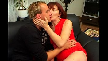 Riding redhead hairy milf by young men