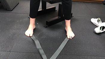 ash-blonde cougar shoeless workout part 1-.