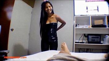 HD 9 weeks pregnant thai asian teen get anal creampie in black leather