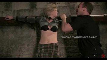ebony-haired ebony splendid whore strapped in underground facility.