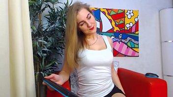 pretty silver-blonde undressing