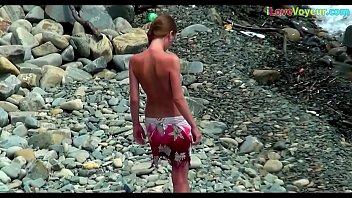spycam nude beach bony unexperienced teenager.