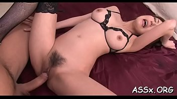 Slutty asian stuffs a lady finger into her lusty butt aperture