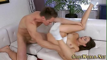 Toyed babe ass banged