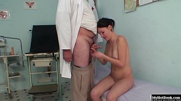 elder physician penetrating with teenager