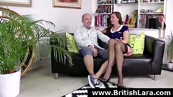 mature brit dame in tights in three way.
