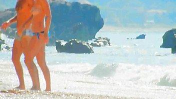 beach spy breasts close up
