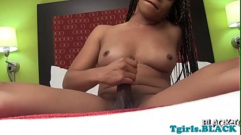 nubian trans stroking her dinky until she completes off