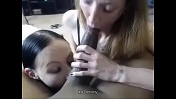 interracial threesome with double blowjob