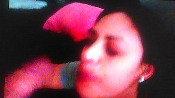 latina wife taking a big dick facial
