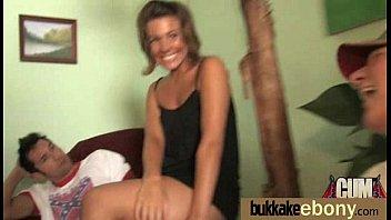 Ebony Cum Slut Hottie Bukkake Party 8