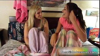 two adorable inexperienced teenage women having