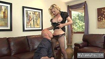 Big boobs blonde TS Tyra Scott anal banged by bald dude