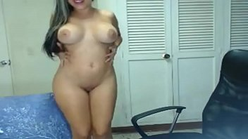 Hot brunette chick with sexy body and big tits on webcam