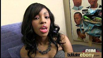 Ebony Cum Slut Hottie Bukkake Party 7