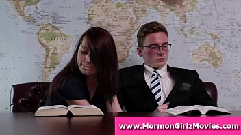 mormon fledgling stunner gives bf a hand-job in public